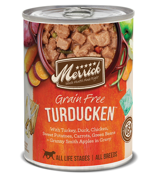 Merrick Premium Canned Dog Food | Grain-Free Formula | Turducken in Gravy Recipe | 12.7 oz. Can