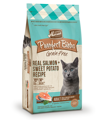 Merrick Premium Adult Cat Food | Purrfect Bistro Grain-Free Formula | Salmon & Sweet Potato Recipe | 6 lb Bag