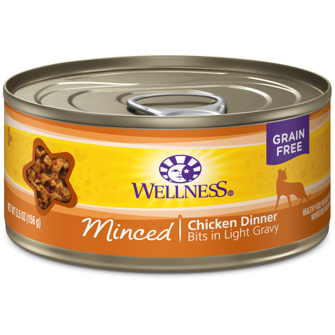 Wellness Premium Canned Cat Food | Complete Health Grain-Free Formula | Minced Chicken Dinner in Gravy Recipe