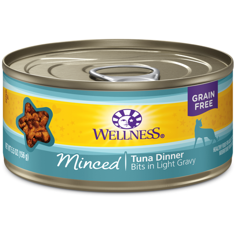 Wellness Premium Canned Cat Food | Complete Health Grain-Free Formula | Tuna Dinner Minced in Gravy Recipe