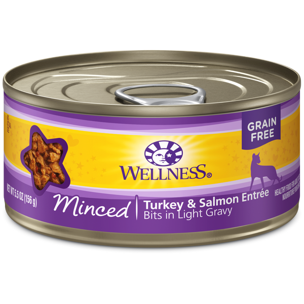 Wellness Premium Canned Cat Food | Complete Health Grain-Free Formula | Minced Turkey & Salmon Dinner in Gravy Recipe