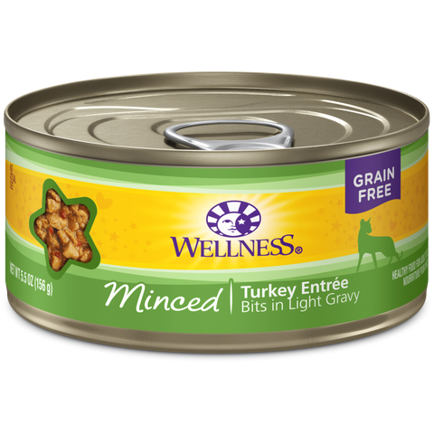 Wellness Premium Canned Cat Food | Complete Health Grain-Free Formula | Minced Turkey Dinner in Gravy Recipe