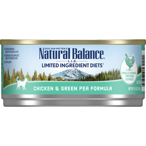 Natural Balance Cat Food | Limited Ingredient Grain-Free Diet | Chicken & Green Pea Formula | 5.5 oz. Cans (Case of 24)