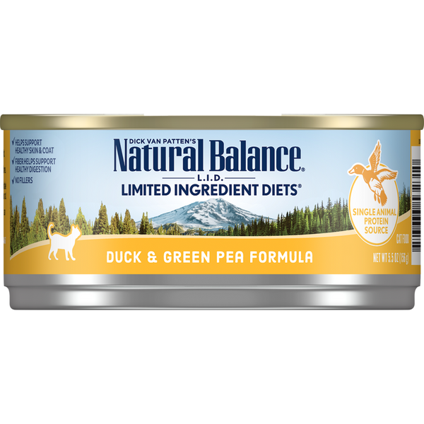Natural Balance Cat Food | Limited Ingredient Grain-Free Diet | Duck & Green Pea Formula | 5.5 oz. Can