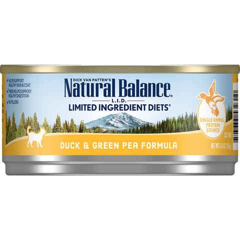 Natural Balance Cat Food | Limited Ingredient Grain-Free Diet | Duck & Green Pea Formula | 5.5 oz. Cans (Case of 24)