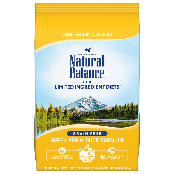 Natural Balance Premium Cat Food | Limited Ingredient Grain-Free Diet | Green Pea and Duck Formula