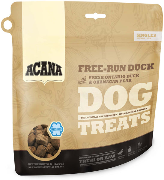 Acana Premium Freeze-Dried Dog Treats | Free-Run Duck Formula | 92g Pouch