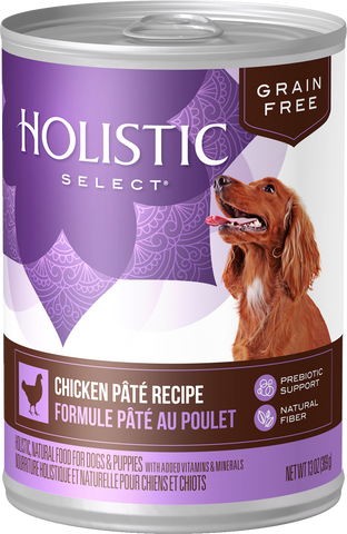Holistic Select Premium Canned Dog and Puppy Food | Grain-Free Chicken Pate Recipe | 13 oz. Can