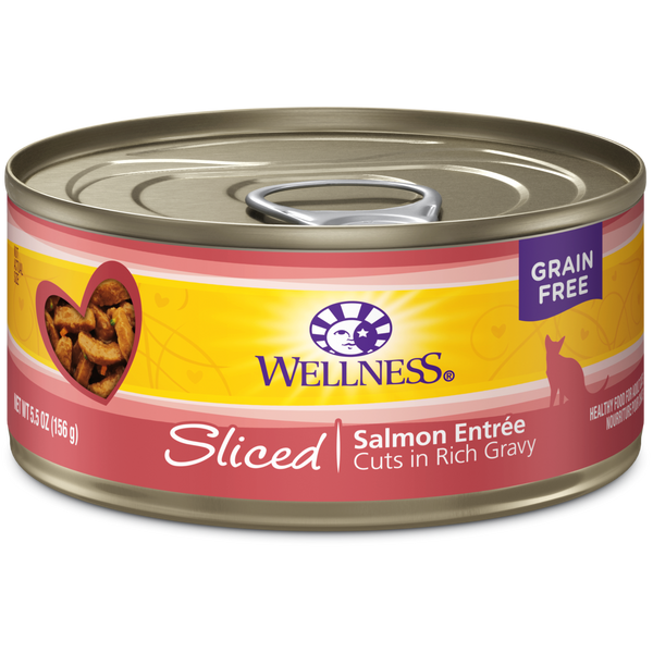 Wellness Premium Canned Cat Food | Complete Health Grain-Free Formula | Sliced Salmon Dinner in Rich Gravy Recipe