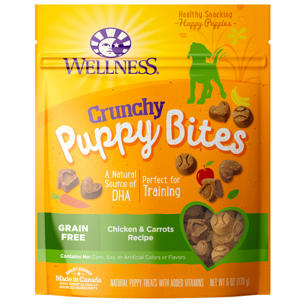 Wellness Premium Puppy Treats | Grain-Free Crunchy Puppy Bites | Chicken & Carrots Recipe | 85 g Pouch