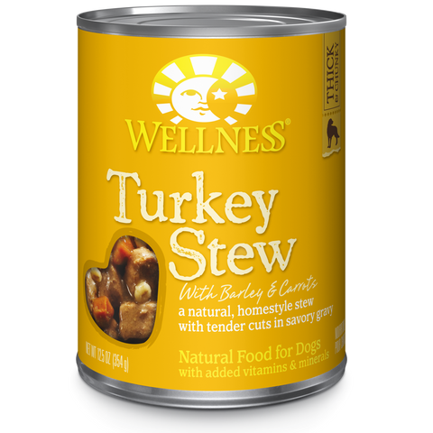 Wellness Premium Canned Dog Food | Grain-Free Homestyle Stew in Gravy | Turkey Stew with Barley & Carrots Recipe | 12.5 oz. Can