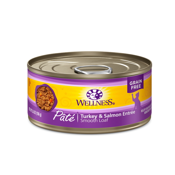 Wellness Premium Canned Cat Food | Complete Health Grain-Free Formula | Turkey & Salmon Pate Recipe