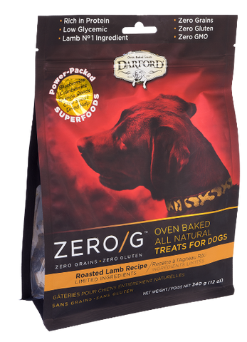 Darford Premium Dog Biscuits | Zero/G Grain-Free Formula | Roasted Lamb Recipe | 340 g Pouch
