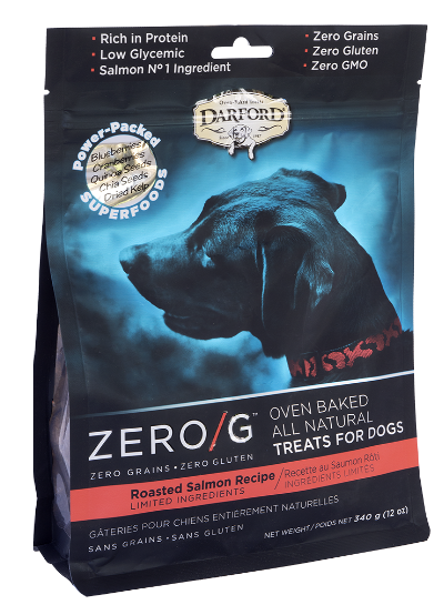 Darford Premium Dog Biscuits | Zero/G Grain-Free Formula | Roasted Salmon Recipe | 340 g Pouch