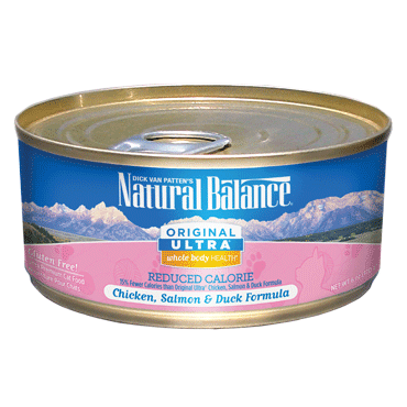Natural Balance Cat Food | Chicken, Salmon & Duck Flavour | Reduced Calorie Formula | 5.5 oz. Can (Case of 24)
