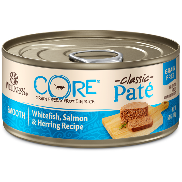 Wellness Premium Canned Cat Food | CORE Grain-Free Formula | Whitefish, Salmon & Herring Pate Recipe | 5.5 oz. Cans