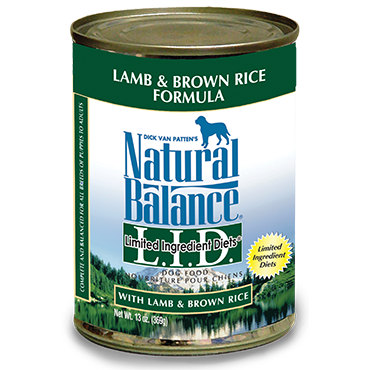 Natural Balance Premium Dog Food | Limited Ingredient Diet | Lamb and Brown Rice Formula | 13 oz. Cans (Case of 12)