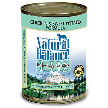 Natural Balance Premium Dog Food | Limited Ingredient Diet | Chicken and Sweet Potato Formula | 13 oz. Cans (Case of 12)