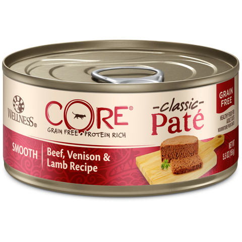 Wellness Premium Canned Cat Food | CORE Grain-Free Pate Formula | Beef, Venison & Lamb Recipe | 5.5 oz Cans