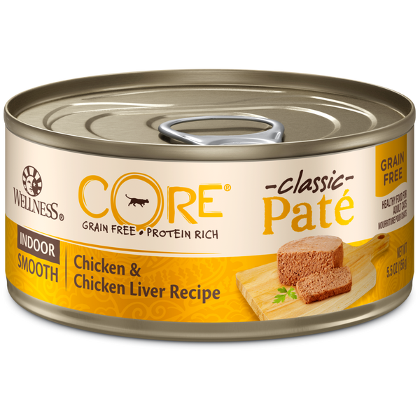 Wellness Premium Canned Cat Food | CORE Grain-Free Formula | Indoor Chicken & Chicken Liver Pate Recipe | 5.5 oz. Cans