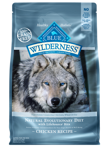 Blue Buffalo Wilderness Grain-Free Chicken Dog Food Packaging