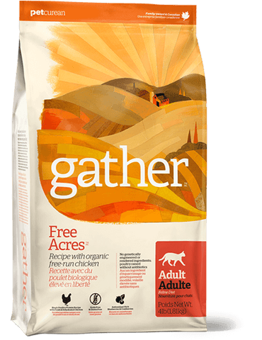 Gather Free Acres Premium Adult Cat Food | Organic Free Run Grain-Free Chicken Recipe | 8 lb Bag