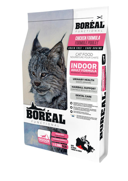 Boreal Premium Indoor Cat Food | Grain-free Chicken Recipe | 5 lb Bag