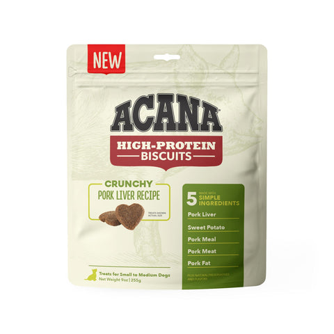 ACANA Crunchy Puppy & Dog Biscuits | Pork Liver Recipe | 255g Pouch