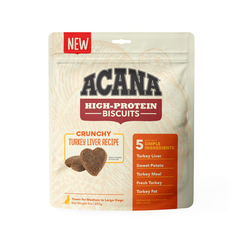 ACANA Crunchy Puppy & Dog Biscuits | Turkey Liver Recipe | 255g Pouch