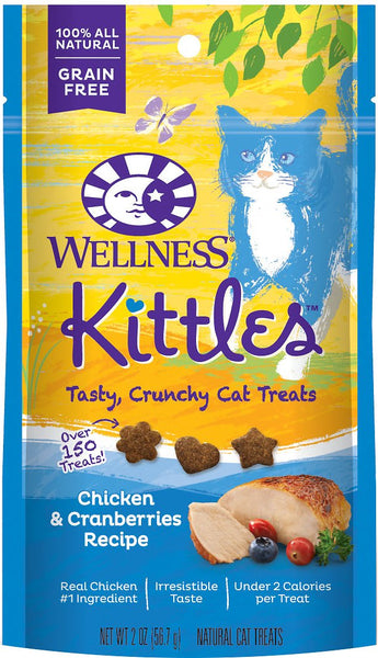Wellness Premium Cat Treats | Kittles Grain-Free Crunchy Treat | Chicken & Cranberry Recipe | 56.7g Pouch