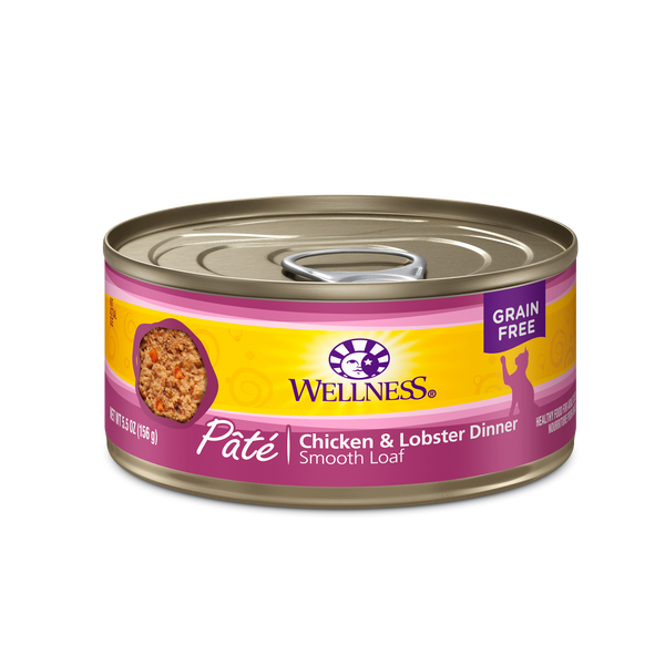 Wellness Premium Canned Cat Food | Grain-Free Formula  | Chicken & Lobster Pate Recipe | 3oz. Cans