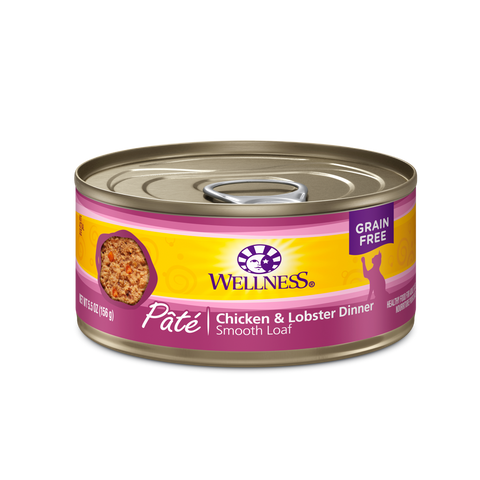 Wellness Premium Canned Cat Food | Grain-Free Formula  | Chicken & Lobster Pate Recipe | 3oz. Cans (Case of 24)
