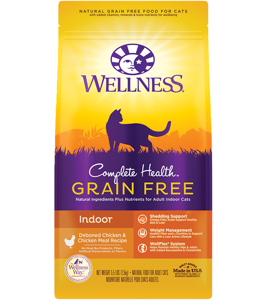 WELLNESS PREMIUM INDOOR CAT FOOD | COMPLETE HEALTH  GRAIN-FREE FORMULA | DEBONED CHICKEN & CHICKEN MEAL RECIPE