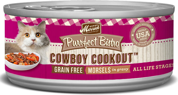 Merrick Purrfect Bistro Premium Canned Cat Food | Grain-free Recipe | Cowboy Cookout Morsels in Gravy | 5.5 oz. Can