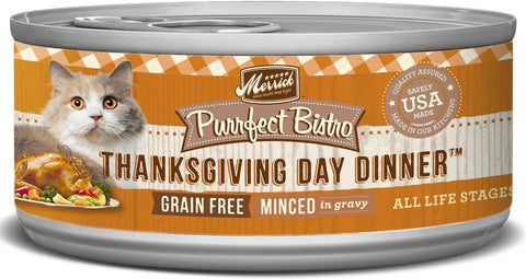Merrick Purrfect Bistro Premium Canned Cat Food | Grain-free Recipe | Thanksgiving Day Dinner Minced in Gravy | 5.5 oz. Can