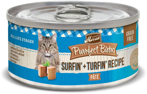 Merrick Purrfect Bistro Premium Canned Cat Food | Grain-free Recipe | Surfin' + Turfin' Recipe | 5.5 oz. Can