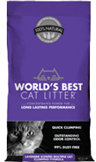 World's Best Premium Cat Litter | Original Series Clumping Lavender Scented Multi-Cat Cat Litter | 28 lb bag