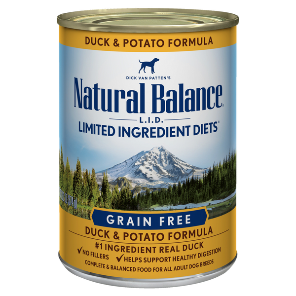 Natural Balance Premium Dog Food | Limited Ingredient Grain-free Diet | Duck and Potato Formula | 13 oz. Cans (Case of 12)