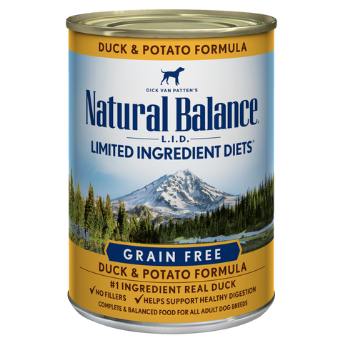Natural Balance Premium Dog Food | Limited Ingredient Grain-free Diet | Duck and Potato Formula | 13 oz. Can