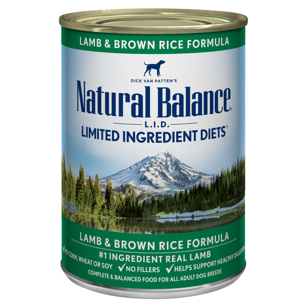 Natural Balance Premium Dog Food | Limited Ingredient Diet | Lamb and Brown Rice Formula | 13 oz. Can