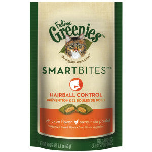 Greenies SmartBites Cat Treats | Hairball Control | Chicken Flavour | 60g Pouch