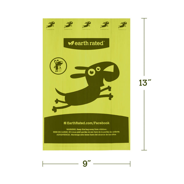 Earth Rated Eco-friendly Poop Bags | 120 Bags on Rolls | Refill Pack