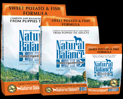 Natural Balance Limited Ingredient Diet Sweet Potato & Fish Dog Food packaging