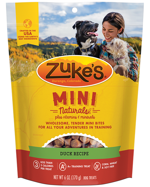 Zuke's Natural Dog Treats | Mini Naturals Training Treats | Duck Recipe | 170g Pouch