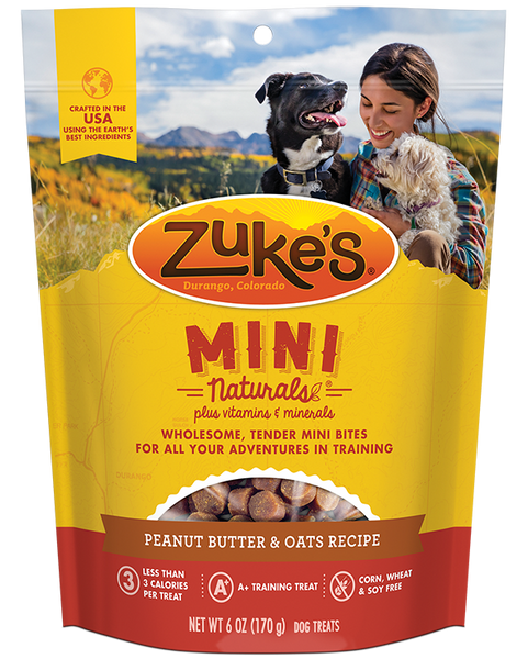 Zuke's Natural Dog Treats | Mini Naturals Training Treats | Peanut Butter & Oats Recipe