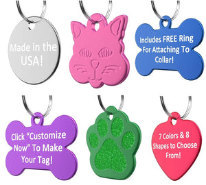 Personalized Dog or Cat ID Tag , Made in the USA