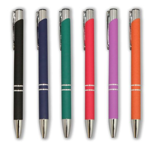 Arc Metal Pen with rubberised finish.