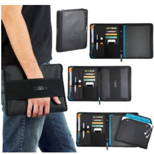 Avalon Blue Trim Compendium with Removable Tablet Holder - Promotional Products