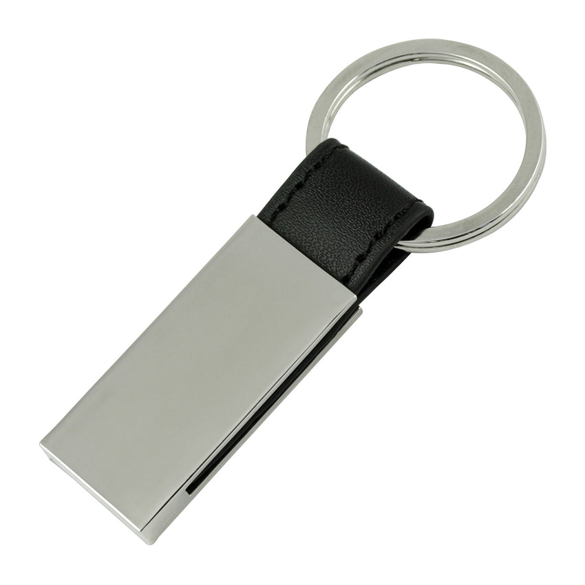 Oxford Black Leather Strip Keyring - Promotional Products