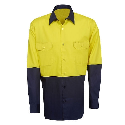 Hi Vis Cotton Twill Shirt Long Sleeve - Day Use - Corporate Clothing